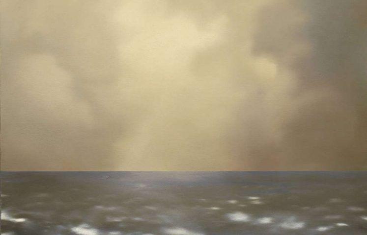 Gerhard Richter, Seestück (oliv bewölkt), Detail, 1969, Öl/Lw, 80 cm x 100 cm (Privatsammlung, Italien © Gerhard Richter, WVZ 237-3)