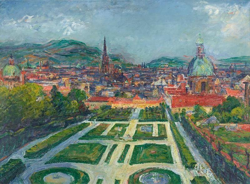 Gerhart Frankl, Blick vom Belvedere auf Wien (Landschaft I), 1948, Öl und Tempera auf Leinwand, 61 x 84 cm (Belvedere, Wien)