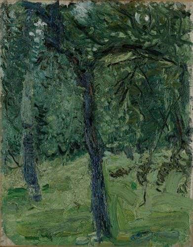 Richard Gerstl, Sonnige Wiese mit Obstbäumen, 1907, Öl auf Leinwand, 44 x 34,7 cm (Leopold Museum, Wien, Inv. LM 640 © Leopold Museum, Wien / Foto: Manfred Thumberger)