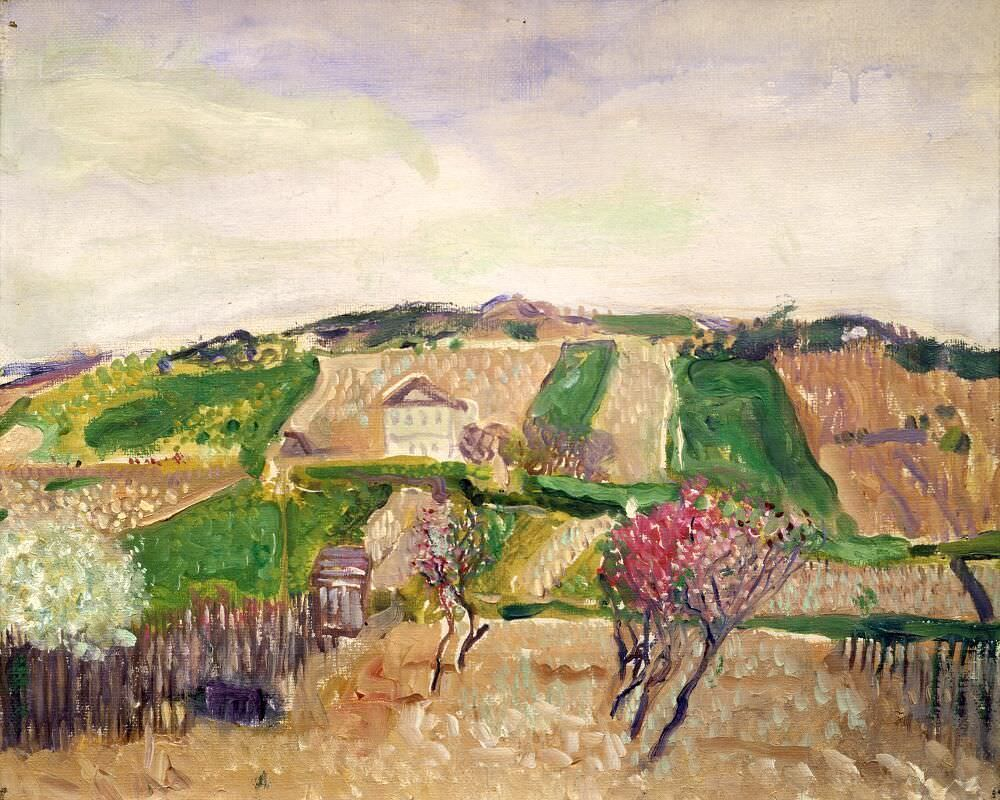 Richard Gerstl, Grinzing, Frühling 1906, Öl auf Leinwand, 29,7 x 40,2 cm (Privatsammlung, Courtesy Galerie St. Etienne, New York)