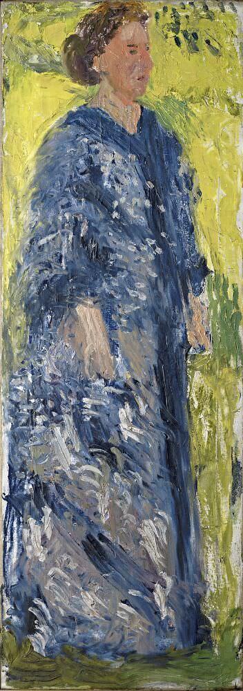 Richard Gerstl, Mathilde Schönberg im Garten, Juli 1908, Öl auf Leinwand, 171 x 61 cm (Leopold Museum, Wien)