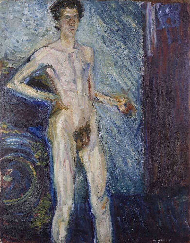 Richard Gerstl, Selbstbildnis als Akt mit Palette, 12. September 1908, Öl auf Leinwand, 139,3 x 100 cm (Leopold Museum, Wien)