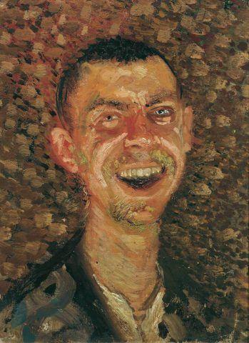 Richard Gerstl, Selbstbildnis, lachend, Sommer/Herbst 1907, Öl auf Leinwand, 40 x 30,5 cm (Belvedere, Wien)