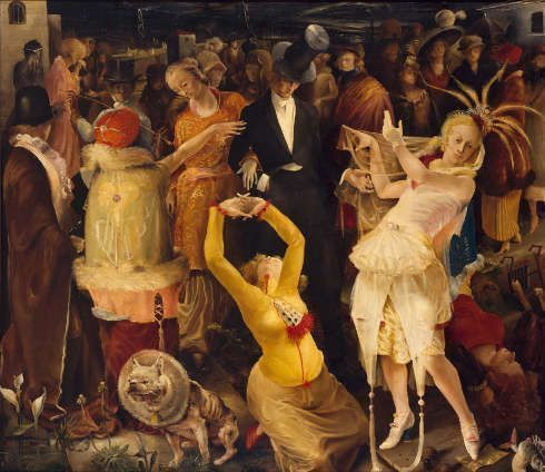 Gert H. Wollheim, Abschied von Düsseldorf, 1924, Öl auf Leinwand, 160 × 185 cm (Kunstpalast, Düsseldorf, © Jutta Osterhof / Nachlass des Künstlers, Foto: Kunstpalast - Horst Kolberg – ARTOTHEK)