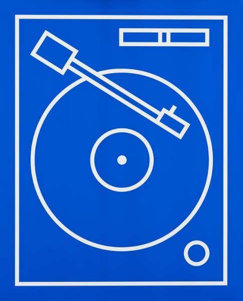 Gerwald Rockenschaub, O.T. (Plattenspieler), 1999, Siebdruck auf Alucore, 1/3, 60 x 74 cm (Wien Museum)