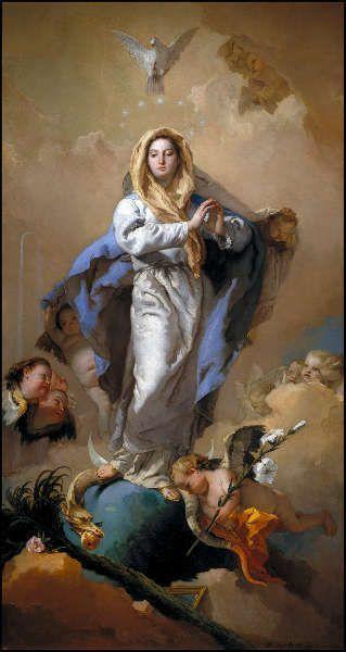 Giambattista Tiepolo, Immaculata Conceptio, Öl/Lw, 281 x 155 cm (Madrid, Museo Nacional del Prado)