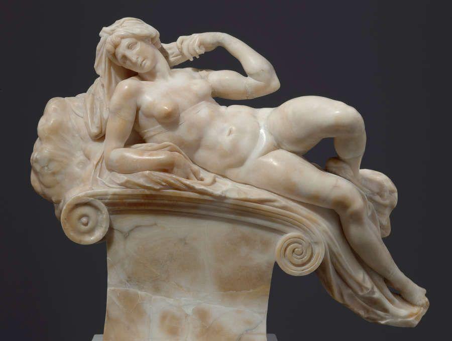 Giambologna nach Michelangelo, Der Morgen, um 1555/58, Alabaster, 41,5 x 49 x 18,8 cm (Skulpturensammlung © SKD, Foto: Hans-Peter Klut)