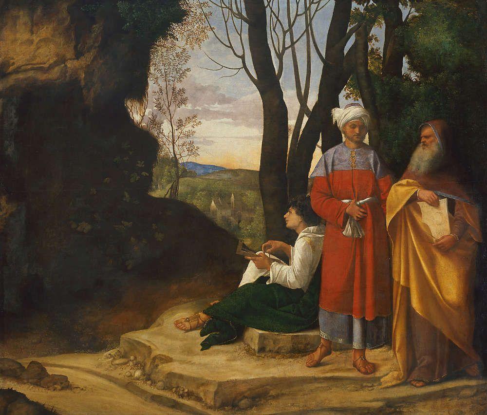 Giorgione, Die drei Philosophen, um 1508-09, Öl/Lw, 125,5 cm × 146,2 cm × 3,5 cm (KHM, Inv.-Nr. GG 111)