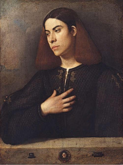 Giorgione (Giorgio da Castelfranco), Porträt eines jungen Mannes, um 1508–1510, Öl auf Leinwand, 72,5 x 54 cm (Szépmüvészeti, Múzeum, Budapest)