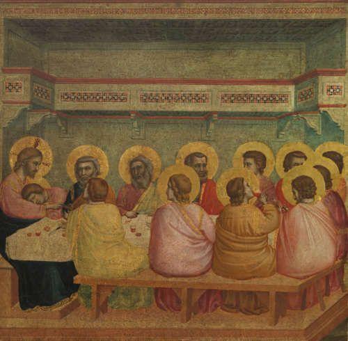 Giotto, Letztes Abendmahl, um 1303/06–1312/13, Pappelholz, 47,6 × 46,1 cm (gesamt), 45,2 × 43,9 cm (Malfläche) (Alte Pinakothek, München, Inv. Nr. 643)