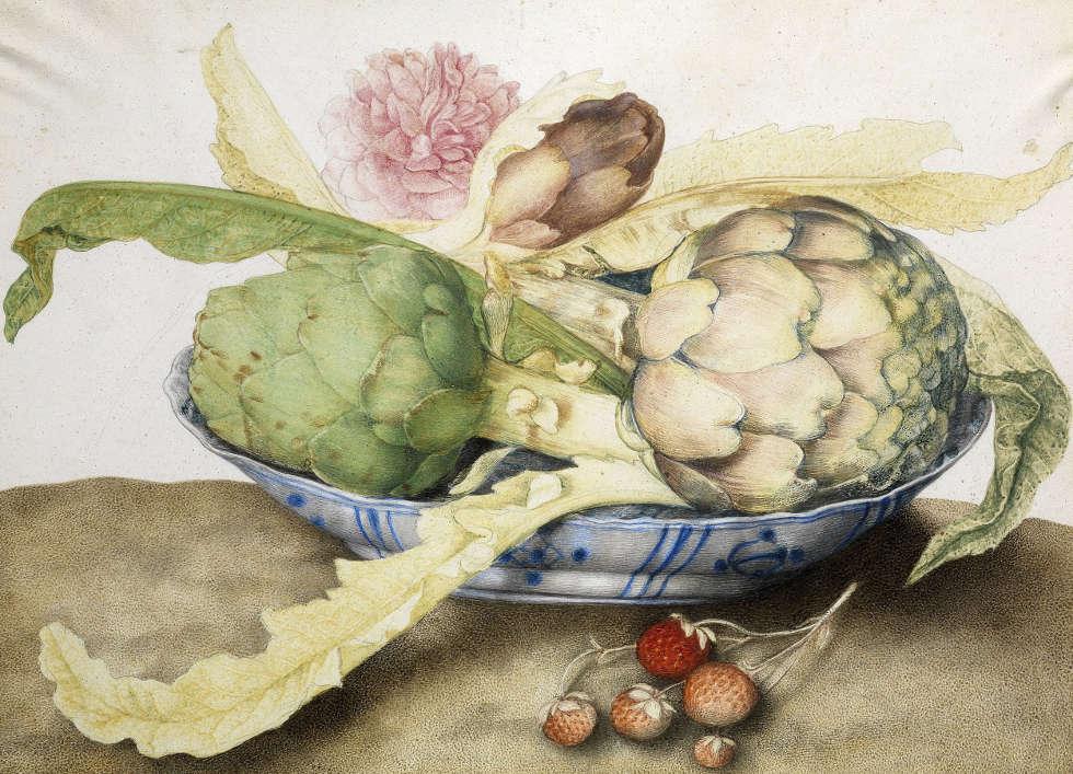 Giovanna Garzoni, Stillleben mit chinesischem Teller, Artischocken, Rosen und Erdbeeren, Pergament (Galleria Palatina ed Appartamenti Reali, Florenz)