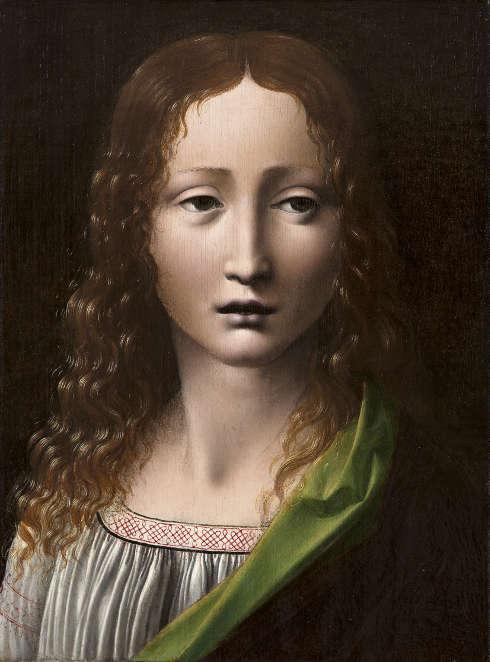 Giovanni Antonio Boltraffio zg., Der junge Salvator, um 1490–1495, Öl/Holz, 25.3 x 18.5 cm (Museo Lázaro Galdiano, Madrid)