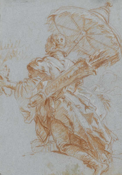 Giovanni Battista Tiepolo, Kniender Mann mit Sonnenschirm, 1752, Rötel und weiße Kreide auf blauem Papier, 37,5 x 26,5 cm (Staatsgalerie Stuttgart, Graphische Sammlung)
