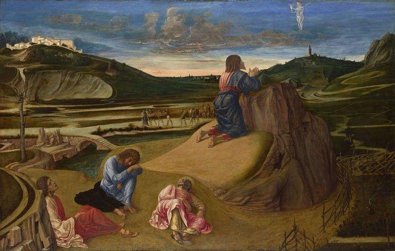 Giovanni Bellini, Christus im Garten Gethsemane, um 1465, Tempera/Holz, 81.3 x 127 cm (© The National Gallery, London)