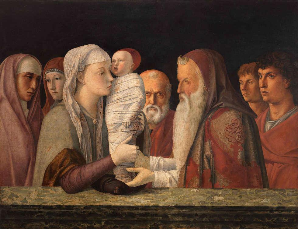 Giovanni Bellini, Die Darbringung Christi im Tempel, um 1472, Holz, 80 x 105 cm (© Fondazione Querini Stampalia, Venedig / cameraphoto arte snc)