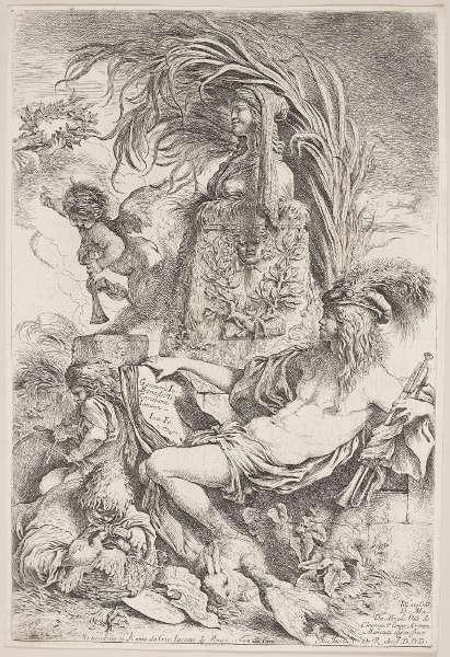 Giovanni Benedetto Castiglione, Der Genius von Castiglione, datiert 1648, Radierung (Royal Collection, Windsor, RCIN 830465)