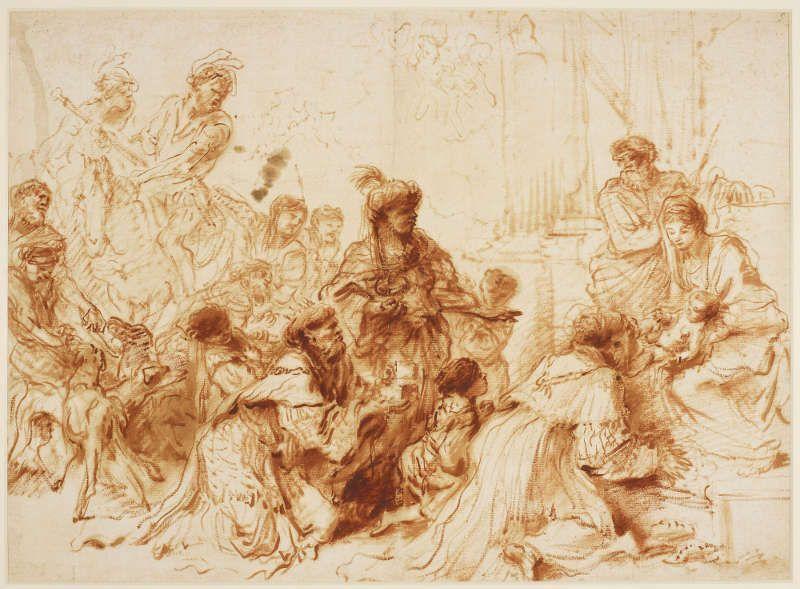 Giovanni Benedetto Castiglione, Die Anbetung der Könige, um 1650–55, Ölzeichnung (Royal Collection, Windsor, RCIN 904036)