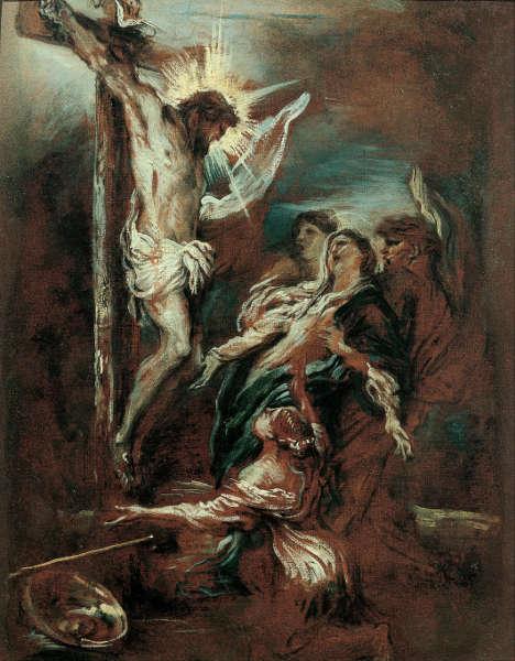 Giovanni Benedetto Castiglione, Kreuzigung, um 1660, Öl/Lw, 60 x 45 cm (Musei di Strada Nuova, Genua)