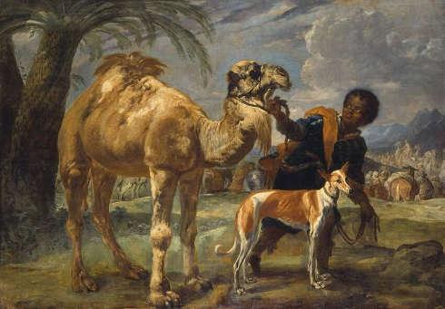 Giovanni Benedetto Castiglione, Mohr mit Windhund und Dromedar, Öl/Lw, 160 x 235 cm (Bayerische Staatsgemäldesammlung, München)
