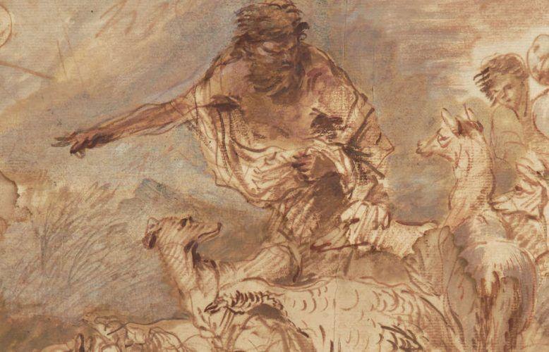 Giovanni Benedetto Castiglione, genannt Il Grechetto, Noah leitet die Tiere in die Arche, Detail, um 1660, Pinsel in Braun und Rotbraun, stellenweise Blaugrau, auf hellbeigem Papier, 32 x 45,4 cm (Kunsthaus Zürich, 1945)