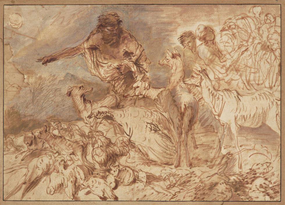 Giovanni Benedetto Castiglione, genannt Il Grechetto, Noah leitet die Tiere in die Arche, um 1660, Pinsel in Braun und Rotbraun, stellenweise Blaugrau, auf hellbeigem Papier, 32 x 45,4 cm (Kunsthaus Zürich, 1945)