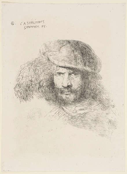 Giovanni Benedetto Castiglione, Vermutliches Selbstbildnis, um 1645–1650, Radierung, 18,7 x 13,8 cm (Platte), 19,1 x 14 cm (Blatt) (Royal Collection, Windsor, RCIN 830472.g)