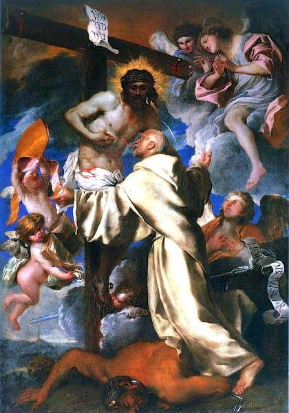 Giovanni Benedetto Castiglione, Vision des hl. Bernhard, Öl/Lw, 305 x 222 cm (Chiesa di Santa Maria della Cella, Genua)
