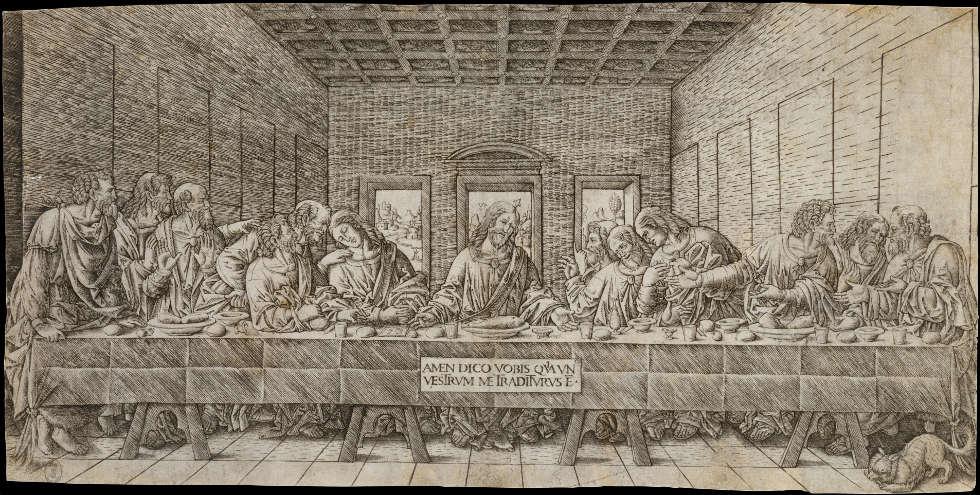 Giovanni Pietro da Birago, Das Abendmahl (nach Leonardo da Vinci), um 1500, Kupferstich, 21,3 x 44 cm (The Metropolitan Museum of Art (Dr. and Mrs Goodwin M. Breinin Gift), New York)