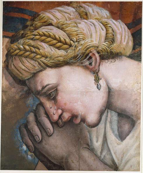 Giulio Romano-Werkstatt, Fragment eines Kartons für den Betlehemitischen Kindermord, 55,3 x 45,6 cm (Christ Church, Oxford)