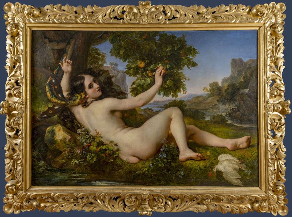 Giuseppe Bezzuoli, Eva, die von der Schlange in Versuchung geführt wird, 1853 (Palazzo Pitti, Galleria d'Arte Moderna)