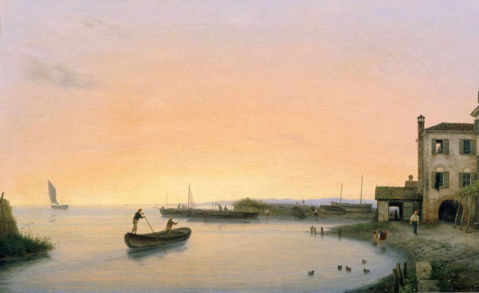 Giuseppe Canella d. J., Chioggia vor Sonnenaufgang, 1838 (Belvedere, Wien)