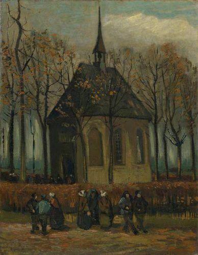 Vincent van Gogh, Kongregation verlässt die reformierte Kirche in Nuenen, Frühjahr 1884, Öl auf Leinwand(Van Gogh Museum, Amsterdam)