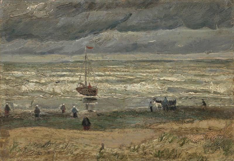 Vincent van Gogh, Sturm - Strand von Scheveningen, August 1882, Öl auf Leinwand, 34,5 x 51 cm (Van Gogh Museum, Amsterdam)