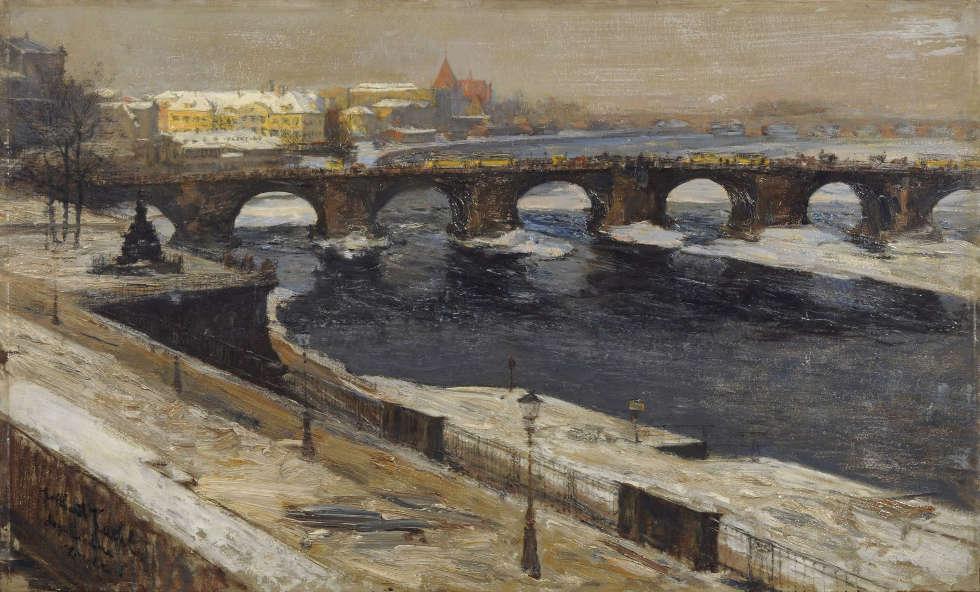 Gotthardt Kuehl, Augustusbrücke in Dresden, 1895-1898, Öl auf Karton, 48.5 x 80.5 cm (Privatbesitz)