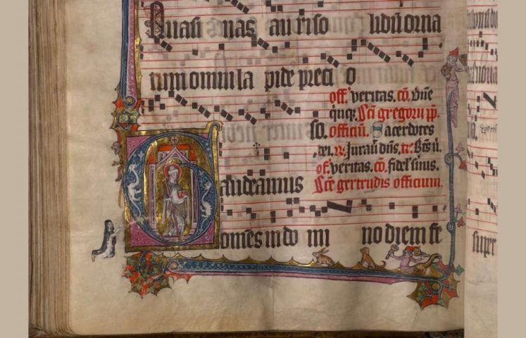 Graduale für das Dominikanerinnenkloster St. Gertrud, Köln, Klarissenkloster St. Klara, Detail, um 1360 (Erzbischöflichen Diözesan- und Dombibliothek Köln, Cod. 1150, fol. 169v, Foto: EDDB Köln)