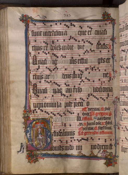 Graduale für das Dominikanerinnenkloster St. Gertrud, Köln, Klarissenkloster St. Klara, um 1360 (Erzbischöflichen Diözesan- und Dombibliothek Köln, Cod. 1150, fol. 169v, Foto: EDDB Köln)