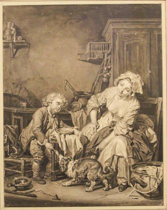 Jean-Baptiste Greuze, Das geteilte Mahl (Das verwöhnte Kind), um 1765, Pinsel in Schwarz, laviert, sign. re. u.: »J. B. Greuze«, 45 x 34 cm (Albertina, Wien, Inv. 12762; Foto: Alexandra Matzner, ARTinWORDS)