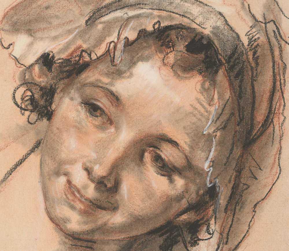 Jean-Baptiste Greuze, Kopfstudie eines lächelnden Mädchens, Detail, um 1765 (Albertina, Wien)