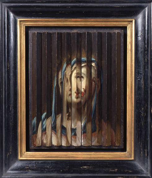 Guido Reni Umkreis, Riefelbild mit Porträts von Jesus und Maria, erste Hälfte 17. Jh., Öl/Holz, 33,5 × 26,5 cm (Sammlung Werner Nekes)