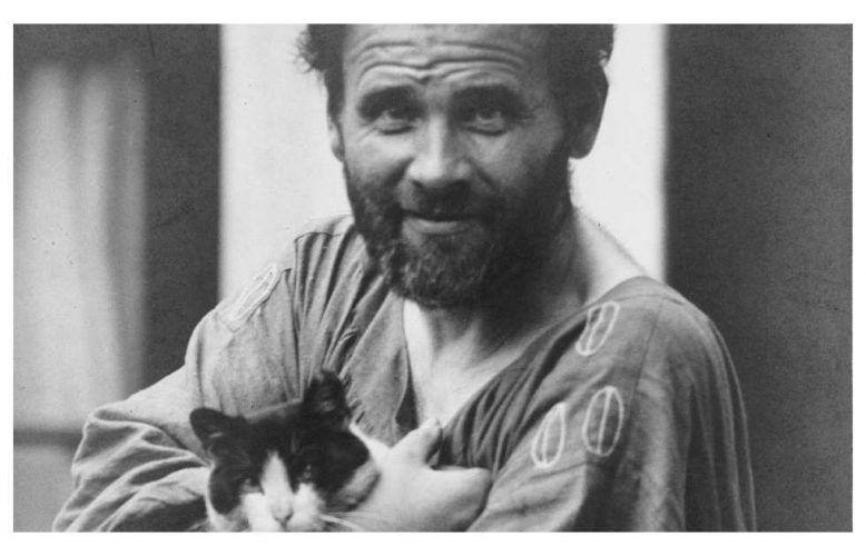 Moritz Nähr, Gustav Klimt mit Katze, Detail