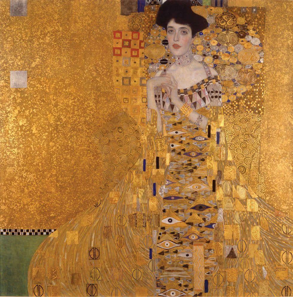 Gustav Klimt, Adele Bloch-Bauer I, 1907, Öl, Golz, Platin (?)/Lw, 138 x 138 cm (Neue Galerie, New York)