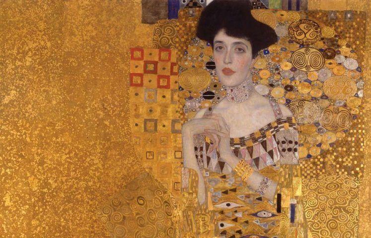 Gustav Klimt, Adele Bloch-Bauer I, Detail, 1907, Öl, Golz, Platin (?)/Lw, 138 x 138 cm (Neue Galerie, New York)