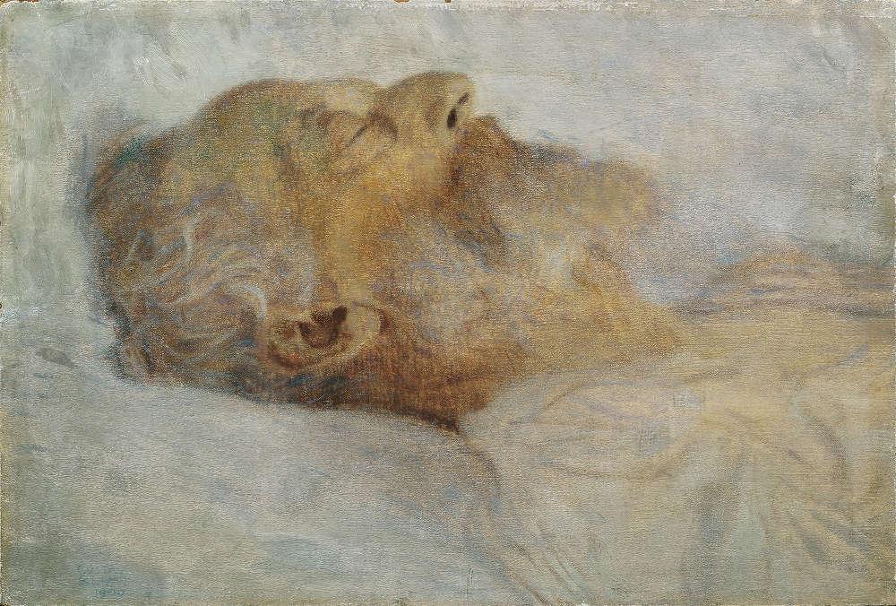Gustav Klimt, Alter Mann auf dem Totenbett, 1899, Öl auf Malpappe, 30,4 × 44,8 cm (© Belvedere, Wien)