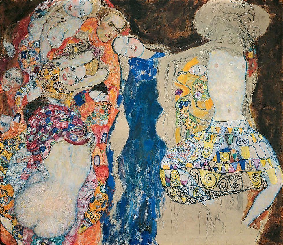 Gustav Klimt, Die Braut, 1917/18 (unvollendet), Öl/Lw, 165 × 191 cm (Klimt-Foundation, Wien)