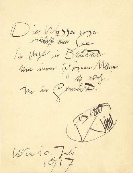 """Gustav Klimt, Gedicht """"Die Wasserrose"""", 10.7.1917, Tinte auf Papier (Klimt-Foundation, Wien)"""
