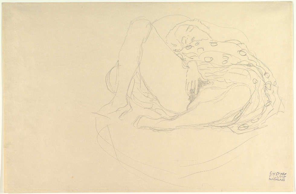 Gustav Klimt, Liegender Akt mit Draperie, um 1912–1913, Bleistift, 36,8 x 55,9 cm (The Metropolitan Museum, New York, Bequest of Scofield Thayer, 1982)