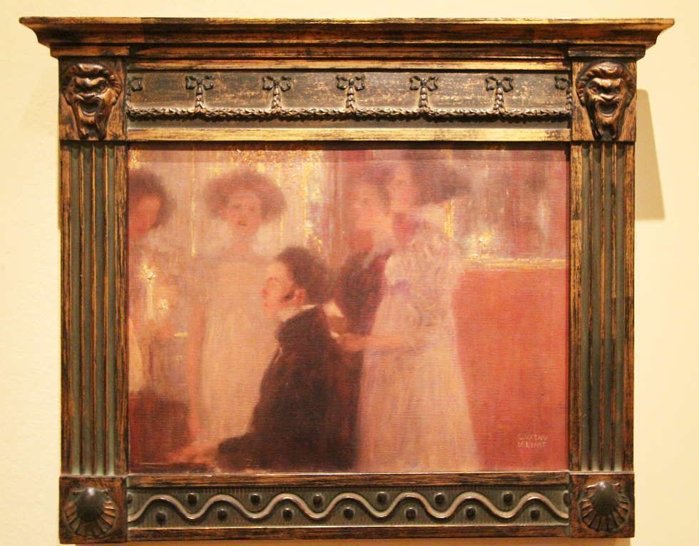 Gustav Klimt, Schubert am Klavier (Entwurf) mit Rahmen, 1896/97, Öl auf Leinwand, 30 × 39 cm (Privatbesitz, Österreich), Foto: Alexandra Matzner, ARTinWORDS