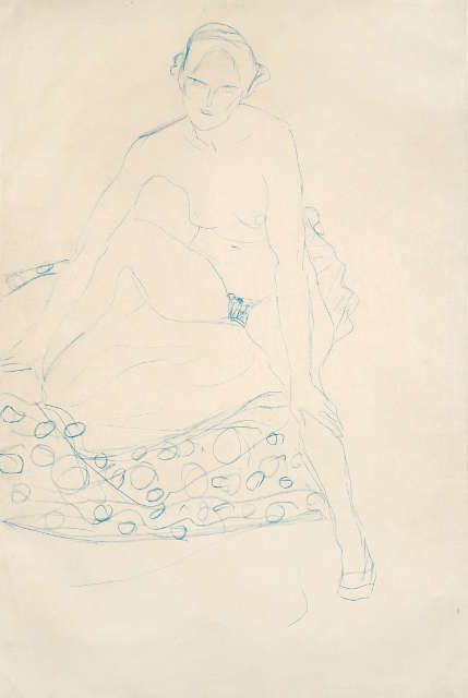 Gustav Klimt - Sitzender Akt von vorne, um 1910, Wienerroither & Kohlbacher