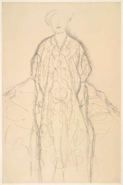Gustav Klimt, Stehende Frau, Studie für das Porträt von Eugenia Primavesi, 1912/13 (© Albertina, Wien)