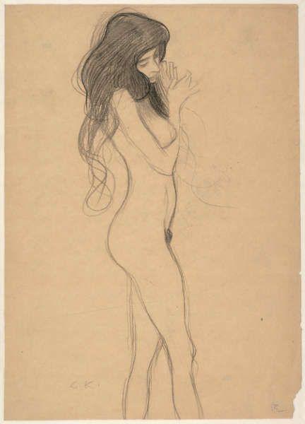Gustav Klimt, Stehender Frauenakt, Studie für den Beethovenfries, 1901 (© Albertina, Wien)